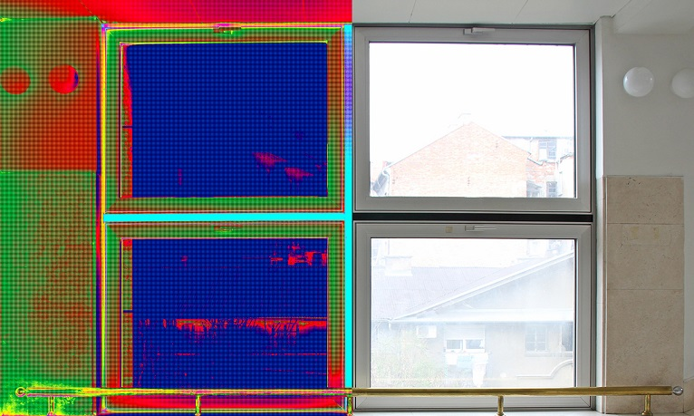 Infrared Thermal and real Image of Radiator Heater and a window on a building