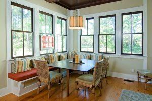 dark window frames inside a home